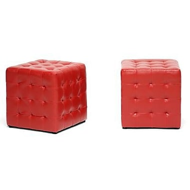 Baxton Studio Siskal Faux Leather Modern Cube Ottoman, Red