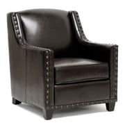 Baxton Studio Wallace Faux Leather Modern Club Chair, Dark Brown