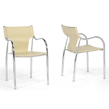 Baxton Studio Harris Faux Leather Modern Dining Chair, Ivory