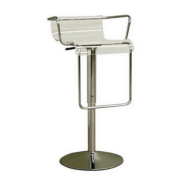 Baxton Studio Russell Acrylic Adjustable Bar Stool, Clear