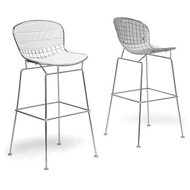 Baxton Studio Tolland Faux Leather Bar Stool, White