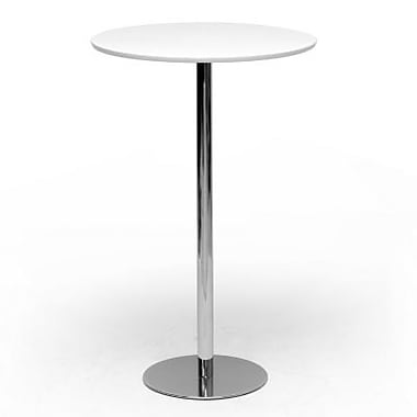 Baxton Studio Cordova 43.31in. x 27in. x 27in. Plastic and Chrome Modern Bar Table, White