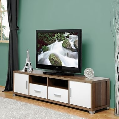 Baxton Studio Chisholm Walnut Effect Modern TV Cabinet With Glass Doors, White/Walnut
