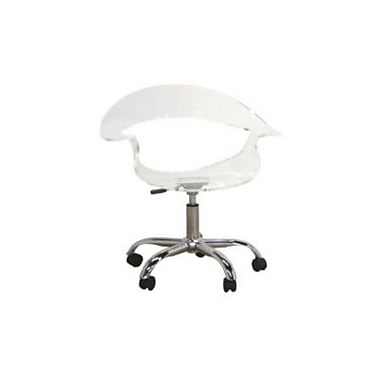 Baxton Studio Elia Acrylic Height Adjustable Low Back Swivel Office Chair, Clear