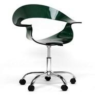 Baxton Studio Elia Dark Acrylic Low Back Modern Swivel Chair, Black