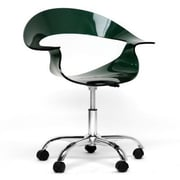 Baxton Studio Elia Acrylic Task Chair, Fixed Arms, Dark Black