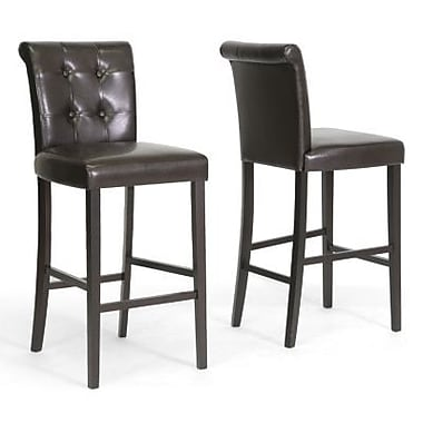 Baxton Studio Torrington Faux Leather Bar Stool, Dark Brown