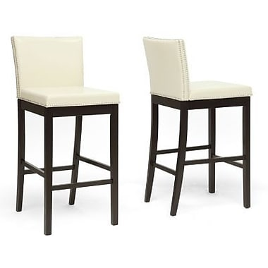 Baxton Studio Graymoor Faux Leather Bar Stool, Cream
