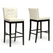 Baxton Studio Prospect Faux Leather Bar Stool, Cream