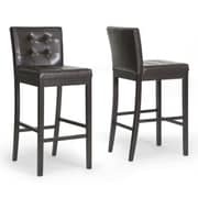 Baxton Studio Prospect Faux Leather Bar Stool, Dark Brown
