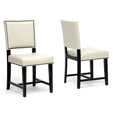 Baxton Studio Faux Leather Dining Chair, Cream