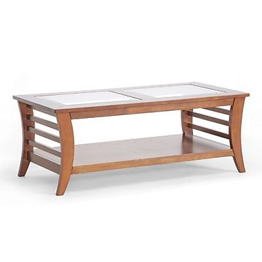 Baxton Studio Allison 18.1in. x 47.1in. x 23.6in. Wood Modern Coffee Table w/Glass inlay, Honey Brown
