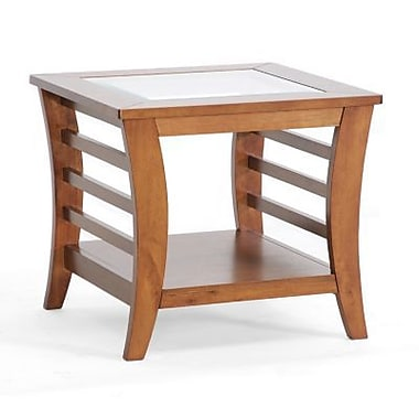 Baxton Studio Allison 21.10in. x 23.05in. x 23.05in. Wood Modern End Table w/Glass inlay, Honey Brown
