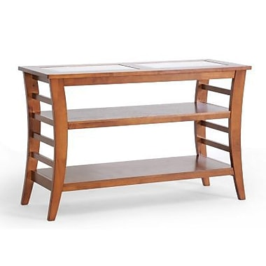 Baxton Studio Allison 29 1/2in. x 47.3in. x 17.6in. Wood Modern Console Table w/Glass inlay, Honey Brown