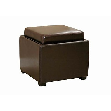 Baxton Studio Tate Leather Storage Ottoman, Dark Brown