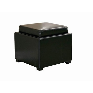 Baxton Studio Tate Leather Storage Ottoman, Black