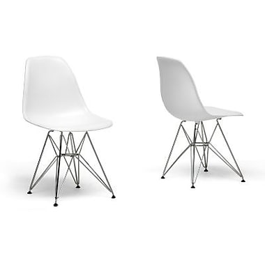 Baxton Studio Plastic Eiffel Accent Chair, White, 2/Set (DC-231-white)