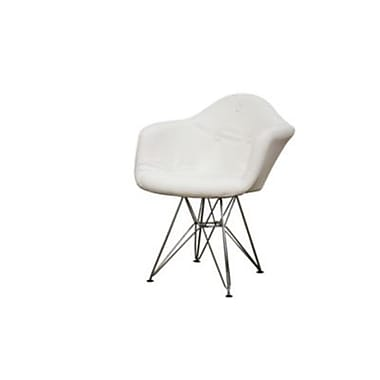 Baxton Studio Lia Tufted Faux Leather Eiffel Arm Chair, White