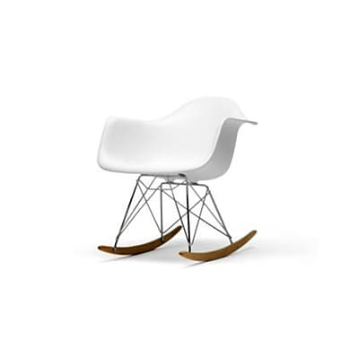 Baxton Studio Chuck Plastic Rocking Chair, White