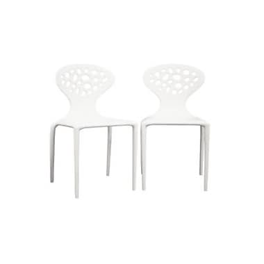 Baxton Studio Durante Plastic Armless Stackable Chair, White, 2/Set (DC-317-white)