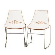 Click here to buy Baxton Studio Jupiter Molded Plastic Modern Dining Chair, White and Orange.