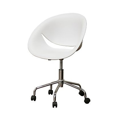 Baxton Studio Justina Molded Plastic Low Back Modern Swivel Office Chair, White