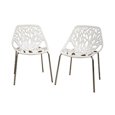 Baxton Studio Birch Sapling Plastic Modern Dining Chair, White