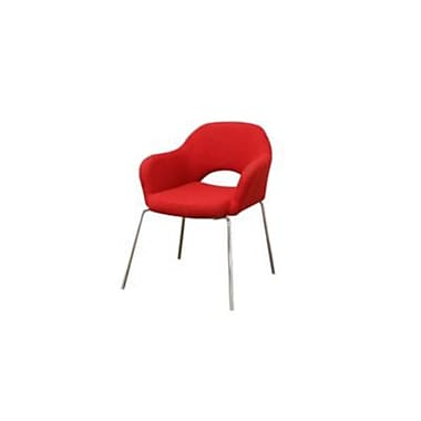 Baxton Studio Mid Century Twill Low Back Executive Arm Chair, Modern Red