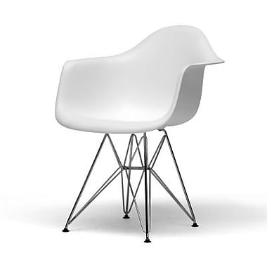 Baxton Studio Dario Plastic Arm Chair, White, 2/Set (DC-622C-White)