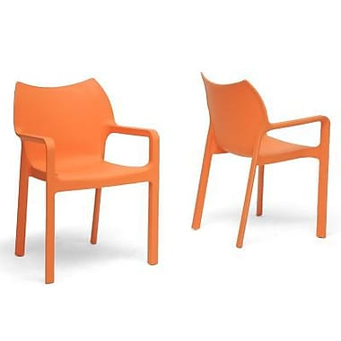 Baxton Studio Limerick Plastic Stackable Modern Dining Chair, Orange