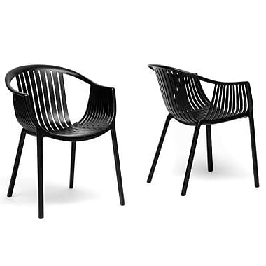 Baxton Studio Grafton Plastic Stackable Modern Dining Chair, Black