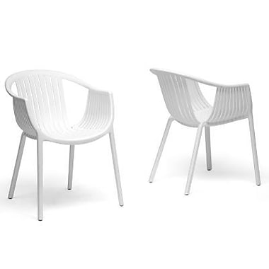 Baxton Studio Grafton Plastic Stackable Modern Dining Chair, White