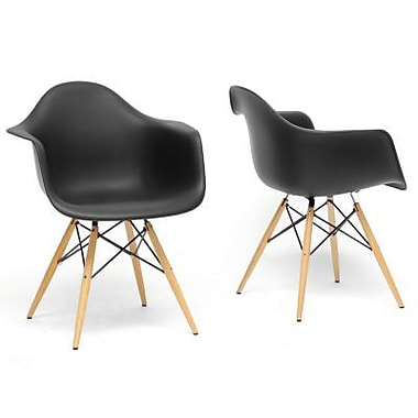 Baxton Studio Pascal Shell Chair, Black, 2/Set (DC-866-Black)