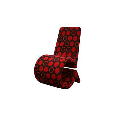 Baxton Studio Forte Fabric Accent Chair, Red and Black Patterned