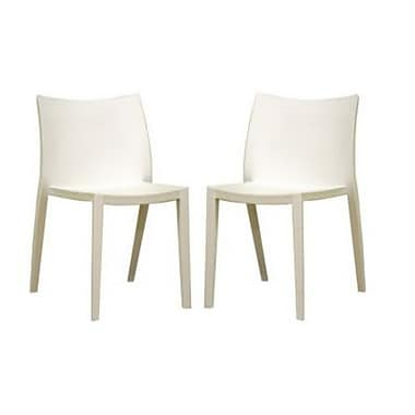 Baxton Studio Odele Plastic Armless Stackable Chair, White, 2/Set (DR82138)