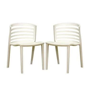 Baxton Studio Ofilia Plastic Stackable Dining Chair, White