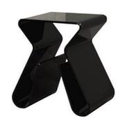 Baxton Studio Acrylic Side Table w/Magazine Rack, Black