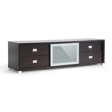Baxton Studio TV Stand With Frosted Glass Door, Dark Brown