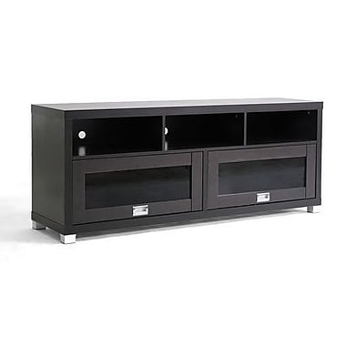 Baxton Studio Swindon Modern TV Stand With Glass Doors, Dark Brown