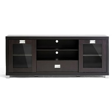 Baxton Studio Matlock Modern TV Stand With Glass Doors, Dark Brown