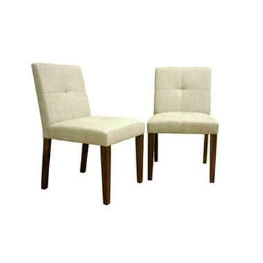 Baxton Studio Glen Woven Fabric Dining Chair, Cream