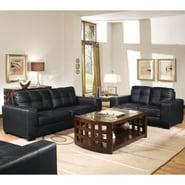 Baxton Studio Leather Sofa Set, Black