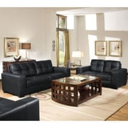 Baxton Studio Leather Sofa Set, Black