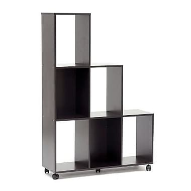 Baxton Studio Hexham Rolling Display Shelving Unit, Dark Brown