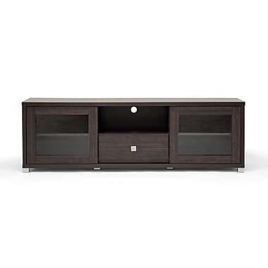 Baxton Studio Kathleen Wenge Wood Effect Modern TV Cabinet With Glass Doors, Dark Brown