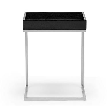 Baxton Studio Loni 21in. x 16in. x 16in. Wood Tray Top End Table w/Silver Metal C Base, Black