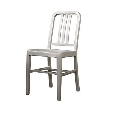 Baxton Studio Brushed Aluminum Modern Cafe Chair, Silver