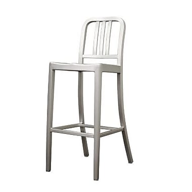 Baxton Studio Cafe Aluminum Bar Stool, Silver