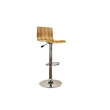 Baxton Studio Lidell Wood Adjustable Bar Stool, Natural