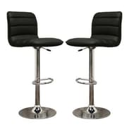 Baxton Studio Lyris Leather Bar Stool, Black